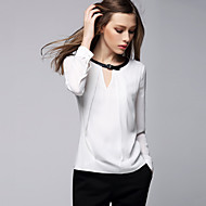Women's Formal Simple Spring Blouse,Solid Round Neck Long Sleeve White PU / Polyester Thin