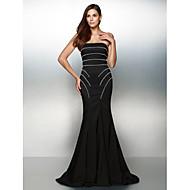 구슬과 TS couture® 공식적인 이브닝 드레스 트럼펫 / 인어 끈 청소 / 브러쉬 기차 저지