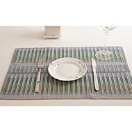 4 Mélange Poly/Coton Rectangulaire Sets de table