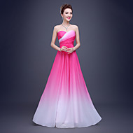 Formal Evening Dress - Color Gradient A-line Sweetheart Floor-length Chiffon with Draping / Side Draping