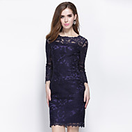 Cocktail Party Dress - Ink Blue Ball Gown Jewel Knee-length Polyester
