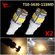 2X T10 W5W 192 168 194 7014 11SMD 5730 11 LED Warm White Side lights LED Wedge Light 12V