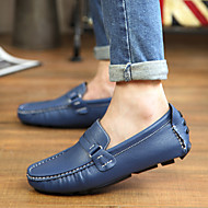 Men's Spring Summer Fall Winter Comfort Moccasin Leather Office & Career Casual Party & Evening Flat Heel Black Blue Brown White
