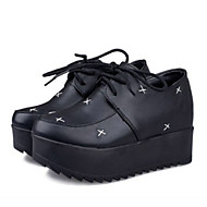 Women's Shoes Preppy Style Wedge Heel Creepers Round Toe Fashion Sneakers Outdoor / Casual Black