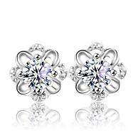 Boucles d'oreille goujon Argent sterling Cristal Mode Forme de Fleur Argent Bijoux Mariage Soirée Quotidien 2pcs