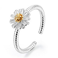 S925 Fine Silver Daisy Flower Shape Open Ring for Wedding Party Fine Jewelry