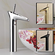 Bathroom Deck Mounted Chrome Finish Oil-rubbed Bronze and Antique Brass Waterfall Tall Basin Faucet
