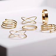 Yüzükler Ayarlanabilir Parti / Günlük Mücevher alaşım Kadın Midi Yüzükler 1set,Ayarlanabilir Altın