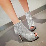 Women's Spring / Summer Heels / Peep Toe Glitter Party & Evening / Casual Stiletto Heel Black / White / Silver / Gold