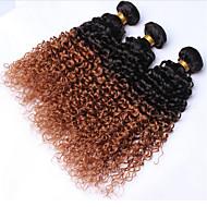"""3kpl paljon 12 """"-30"""" Brasilian neitsyt hiukset perverssi kihara ombre kihara hiuksista kutoa nippua"""