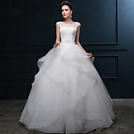 Ball Gown Wedding Dress - Ivory Floor-length Scoop Organza / Satin