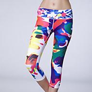 Corrida 3/4 calças justas / Fundos Mulheres Sem Mangas Respirável / Compressão / Redutor de Suor Elastano / Terylene Ioga Rainha YogaWear