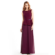 Lanting Sheath/Column Mother of the Bride Dress - Grape Ankle-length Sleeveless Chiffon / Lace