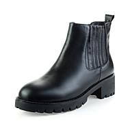 Chaussures Femme-Mariage / Extérieure / Décontracté-Noir-Talon Plat-Bottes à la Mode-Ballerines-Cuir