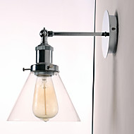 60W Art-Deco Wall Light med Glass Cone Shade Down
