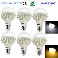 15W E26/E27 Lâmpada Redonda LED B 24 SMD 5630 1000 lm Branco Quente / Branco Frio Decorativa AC 220-240 V 6 pçs