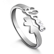S925 Fine Silver LOVE Shape Open Ring for Wedding Party Fine Jewelry