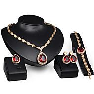Jóias 1 Par de Brincos 1 Bracelete Colares Anéis Rubi Casamento Festa Liga 1 Conjunto Feminino Vermelho Presentes de casamento