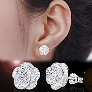 Stud Earrings Basic Fashion Simple Style Sterling Silver Flower Silver Jewelry For Wedding Party Gift Daily Casual 2pcs