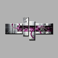 Ready to Hang Stretched Hand-Painted Oil Painting Four Panels Canvas Wall Art Modern Purple Grey Abstract