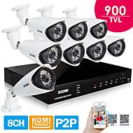 zosi® 8 DVR 960h ערוץ H.264 HDMI 8 יח 900tvl IR ראיית לילה מערכת אבטחת CCTV מצלמה עמיד למים 100ft