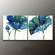 Kézzel festett Virágos / BotanikusModern Két elem Vászon Hang festett olajfestmény For lakberendezési