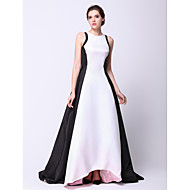 Formal Evening Dress - Elegant A-line / Princess Jewel Asymmetrical Taffeta with