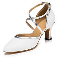 Non Customizable Women's Dance Shoes Latin / Salsa Flocking Cuban Heel White / Fuchsia