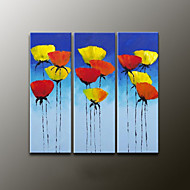 Hand-Painted Floral/BotanicalModern Three Panels Canvas Oil Painting For Home Decoration
