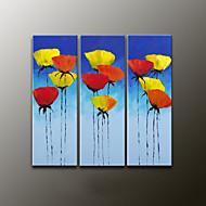 מצויר ביד פרחוני/בוטנימודרני שלושה פנלים בד ציור שמן צבוע-Hang For קישוט הבית