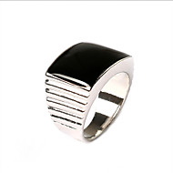Men's Fashion simple style square polished interface alloy ring