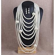 Smykke Sett Perle uttalelse smykker Multi Layer Perle Imitert Perle Hvit Gylden Halskjeder Øreringer Til Bryllup Fest 1 Sett Bryllup gaver