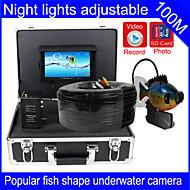 """kalakaiku vedenalainen kamera 100m vedenalainen videokamera kalastus kalakaiku 7 """"TFT LCD värinäyttö DVR toiminto"""