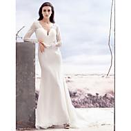Lanting Bride Trumpet/Mermaid Wedding Dress-Chapel Train V-neck Lace / Satin Chiffon
