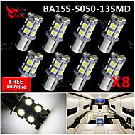 8x super brilhante branco BA15S 1156 traseira do carro por sua vez, sinal de luz 13 SMD lâmpada 12v