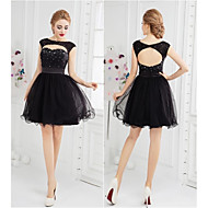 Cocktail Party Dress Ball Gown Scoop Short / Mini Tulle with Beading