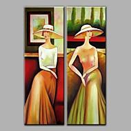 Pintados à mão PessoasModerno 2 Painéis Tela Pintura a Óleo For Decoração para casa