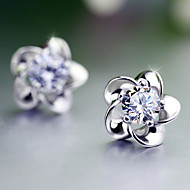 S925 Fine Silver AAA Zircon Flower Stud Earrings