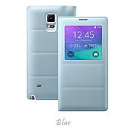 のために Samsung Galaxy Note ウィンドウ付き / フリップ ケース フルボディー ケース ソリッドカラー PUレザー Samsung Note 4