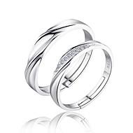 Inele Cuplu Verighete Iubire de Mireasă Plastic Zirconiu Circle Shape Argintiu Bijuterii Pentru Nuntă Petrecere Zilnic 2pcs