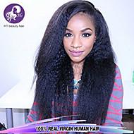 "8""-28"" Brazilian Virgin Hair Kinky Straight Glueless Full Lace Wig Color Natural Black Baby Hair for Black Women"