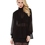 Enfärgad Långärmad Skjorta Kvinnors Polokrage Polyester