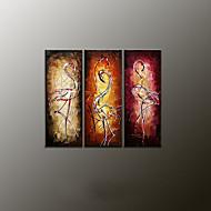 Peint à la main AnimalModern Trois Panneaux Toile Peinture à l'huile Hang-peint For Décoration d'intérieur