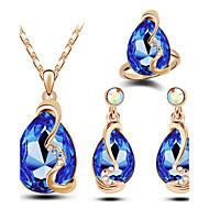 Komplet nakita Moda luksuzni nakit Austrijski kristal Legura Ispustiti Bijela Crvena Plava Pink Svjetloplav Ogrlice Füllbevalók Rings Za