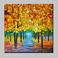 Hand-Painted Gold Tree Abstract Landscape Modern Knife Oil Painting On Canvas One Panel Ready To Hang 90x90cm