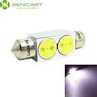 2 High Power 2W 36mm White LED Car Interior Dome Festoon Light Lamp