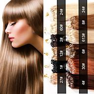 evet brazil mikro hurok gyűrű haj kiterjesztések brazil szűz haj egyenes 0,5 g / szál 100strands / csomó 50g