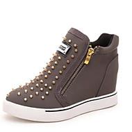 נעלי נשים - סניקרס אופנתיים - פוליאסטר - נוחות / מעוגל - שחור / אפור - שטח / קז'ואל - עקב וודג'