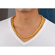 Gold plated 24K gold necklace hollow bamboo men long 55CM