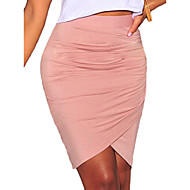 Women's Pink/Black/Green Skirt,Bodycon/Work Above Knee